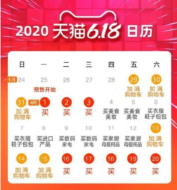 2020年天猫618活动日历详细